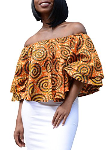 Annflat-Womens-Colorful-African-Print-Off-the-Shoulder-Casual-Blouse-Tops