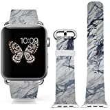 Iwatch Bands Strap 42mm Apple Watch Band Genuine Prime Elegant Leather Replacement For All IWatch With Silver... - B01BSMIZLE