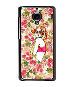 Fuson Flower Pattern Girl Back Case Cover for XIAOMI REDMI 1S - D3916