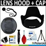 Polaroid Studio Series Lens Hood + Polaroid Studio Series Snap Mount Lens Cap + Cleaning & Accessory Kit For The Olympus Evolt E-30, E-300, E-330, E-410, E-420, E-450, E-500, E-510, E-520, E-600, E-620, E-1, E-3, E-5 Digital SLR Cameras Which Have Any Of