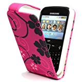 GLITZY GIZMOS BLACK FLOWERS ON PINK PU LEATHER FLIP CASE FOR SAMSUNG CHAT CH@T335 S3350