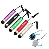 GTMax 5 x stylus lápiz óptico pequño para pantallas táctiles con adaptador de 3,5 mm - (Plateado / Púrpura / Negro / Rojo / Verde)