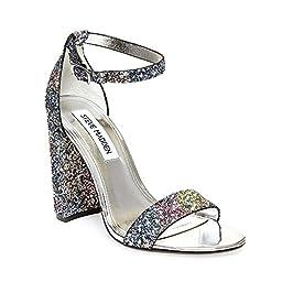 Steve Madden Women\'s Carrson Dress Sandal, Glitter/Multi, 9.5 M US