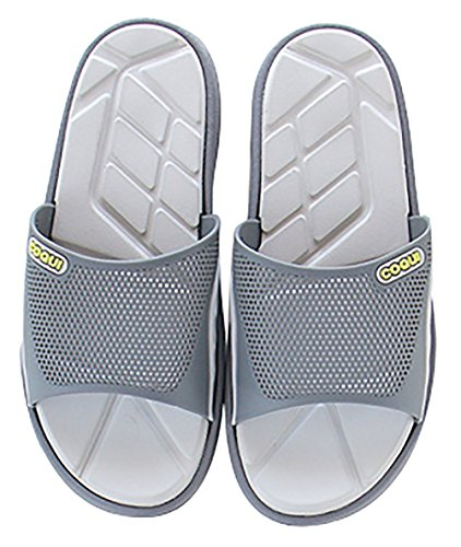 Slip On Pantofole Doccia Antiscivolo Sandali House Mule Mesh Uppers Scarpe piscina bagno Slide per adulti, Grey, 10.5 UK