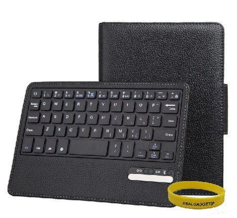 Dealgadgets Removable Detachable Wireless Bluetooth Keyboard PU Leather Case Tablet Stand for Apple iPad Mini (Black)