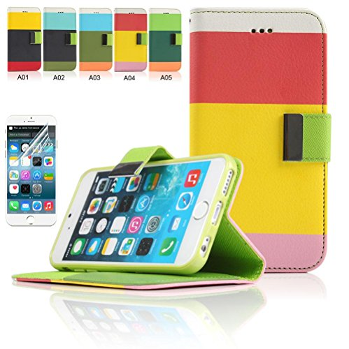 Iphone 6 Plus Case, Boriyuan New Stylish Colorful Protective Ultra Thin Wallet Folio Flip Pu Leather Case Cover For Apple Iphone 6 Plus 5.5 Inch Smartphone, [Built-In Cash/ Credit/ Id Card Holder Slots And Stand Feature] With A Free Screen Protector (5.5'