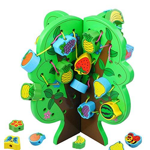 カラービーズ DIY木製の木 木のおもちゃ 指先トレーニング 果物レースビーズ アニマルビーズ 果樹をつくろう ひも通し 知育玩具 知育おもちゃ 指先の知育