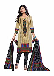 Aarti Apparels Women's Cotton Unstitched Dress Material_BeautyQueen-5_Beige and Black