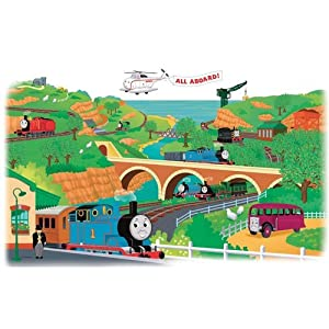 York Wallcoverings RMK1081GM RoomMates Thomas & Friends Peel & Stick Giant Wall,