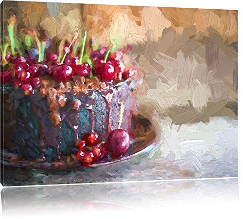 Heavenly gâteau au chocolat effet pinceau, format: 120x80 sur toile, XXL énormes Photos complètement encadrées avec civière, impression d'art sur murale avec cadre, moins cher que la peinture ou une peinture à l'huile, pas une affiche ou une bannière,