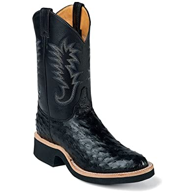 Buy Justin Mens Full Quill Ostrich Cowboy Boot Black 10.5 EE US by Justin