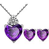 925 Sterling Silver Purple Heart Crystal Pendant Necklace Stud Earrings Set for women teen girls Gift