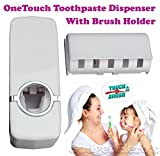 Gadget Hero's One Touch Tooth Paste Dispenser With Tooth Brush Holder.