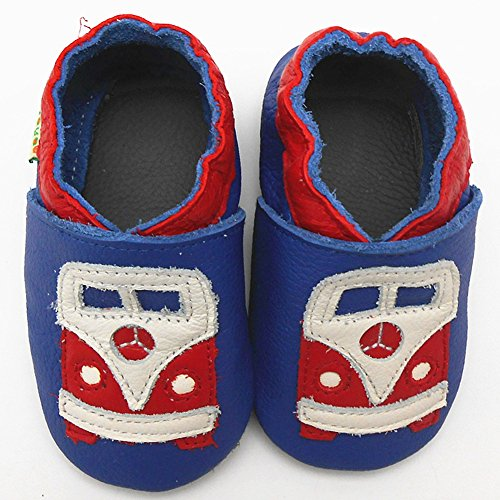Sayoyo Baby BUS Soft Sole Leather Infant Toddler Prewalker Shoes (0-6 months, Blue)