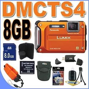 Panasonic Lumix TS4 12.1 TOUGH Waterproof Digital Camera with 4.6x Optical Zoom (Orange) BigVALUEInc Accessory Saver 16GB Bundle
