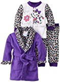 Baby Bunz Baby-girls Infant LG Purrfect Robe and Pajama Set, Dark Purple, 18 Months