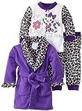 Baby Bunz Baby-girls Infant LG Purrfect Robe and Pajama Set, Dark Purple, 18 Months