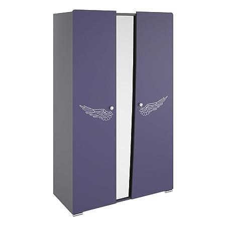 Armoire chambre enfant violet en panneaux de particules, H200 x L123 x P54 cm -PEGANE-