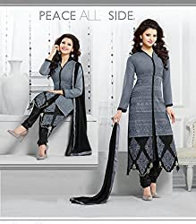 KG fashion georgette gray dress material
