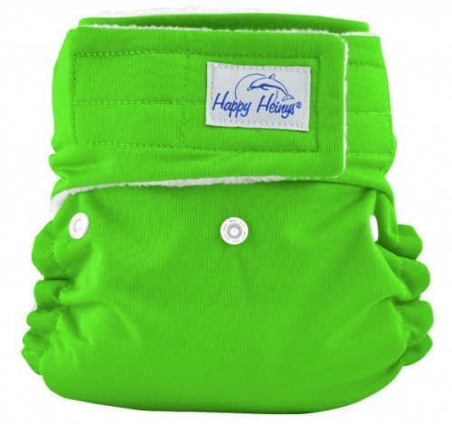 Happy Heinys One For All One Size Cloth Diaper With Hook & Loop Closure + 2 Microfiber Inserts (Spring Green) front-471914