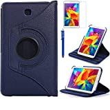 Tab 4 7.0 Case, AiSMei Rotating Case For Samsung Galaxy Tab 4 7.0 SM-T230,SM-T231, SM-T230NU Tablet PC,7-Inch PU Leather Case [Bonus Stylus+Screen Protector] -Navy Blue (Color: Navy Blue, Tamaño: 7 Inch)