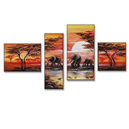Neron Art - Savannah Landscape Oil Paintings Set of 4 Panels on Gallery Wrapped Canvas overall 51X32 inch