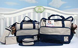 SoHo Diaper bag with changing pad 6 pieces set (Dark Navy)