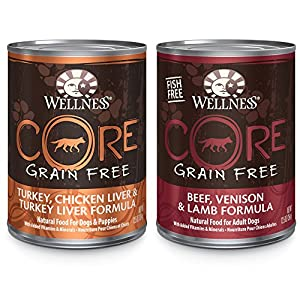Wellness CORE Natural Wet Grain Free Canned Dog Food, Best Sellers Variety Pack, 12.5-Ounce Can (Pack of 18)