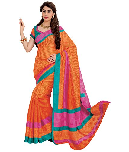 Prafful Orange Jute Silk printed Saree with unstitched blouse