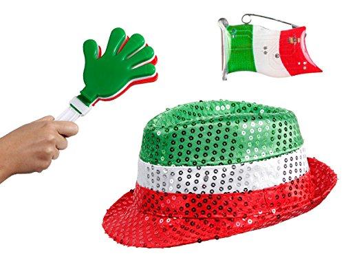 OFFERTA: Kit tifosi Italia (FP-52) Set da 3 pezzi: 1 x cappello fedora con paillette, 1 x battimano in plastica, 1 x spilletta LED azzurri squadra azzurra calcio eventi festa europei mondiali
