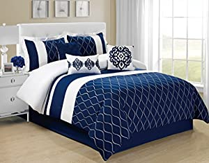 7 Piece Malibu Trelis Embroidery Design Blue Bed in a Bag Comforter Sets Queen size