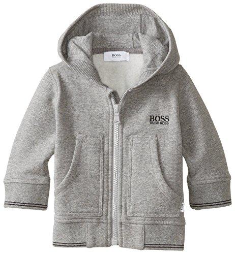 Hugo Boss Baby Baby-Boys Newborn Fleece Hooded Zip Up, Grey Chine, 6 Months