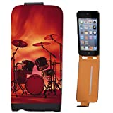 Rocking Rock Band Drum Set with Cymbals Leather Flip Case Cover for Apple iPhone 5 iPhone 5S