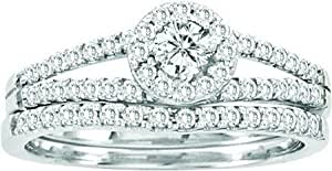 Amazon.com: 0.65ctw Round Diamond Halo Engagement Ring Wedding Band