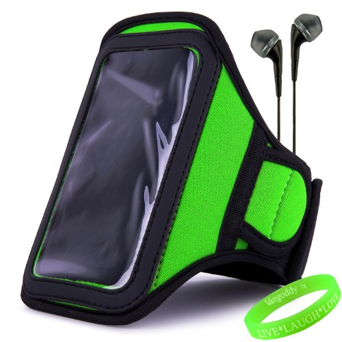 Vangoddy Active Bundle - Neoprene Sweat-Proof Armband Pouch W/ Key & Id Card Holder Fits Motorola Moto X Android Cell Phone // Lime Green \\ + Black Earphone Buds W/ Microphone