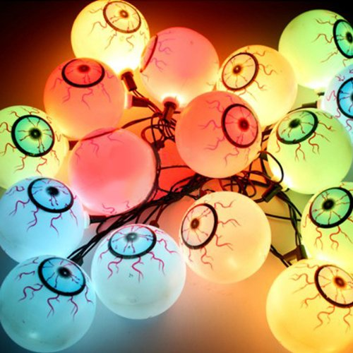 16 Scary Eyeballs Led String Lights Halloween Heads Lamp Set Decoration Bulb Dress Up (Eu Plug)