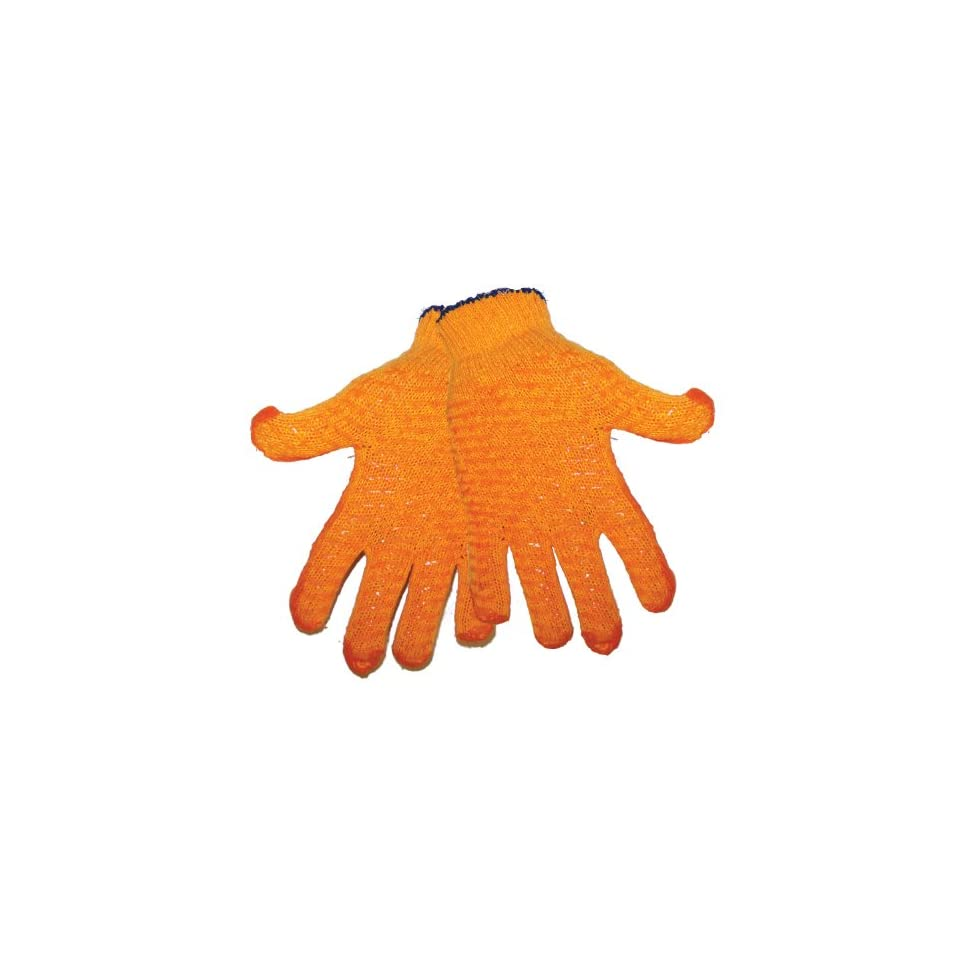 Global Glove S975 Silicone Honey Comb String Knit Glove, Work, Medium, Orange (Case of 144)