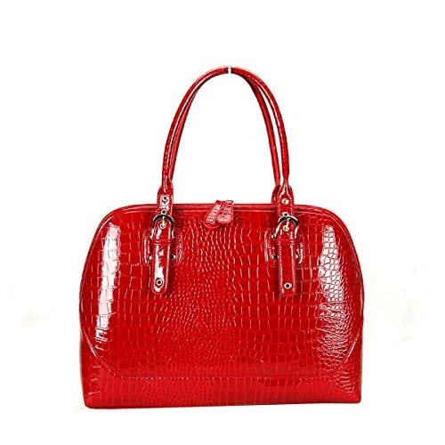 FASH Glossy Crocodile Print Embossed Satchel Style Top Handle Computer Handbag