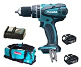 Makita 18V LXT BHP456 BHP456Z BHP456Rfe Combi Drill, 2 X BL1830 Batteries, DC18RC Charger And DK18027 Bag