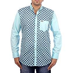 Aaduki Men's Casual Blue Shirt-XL