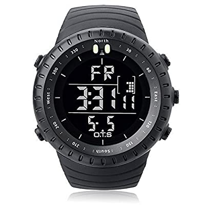 PALADA Men's T7005G Outdoor Waterproof Sport Arc-shaped Glass LED Light Digital Watch