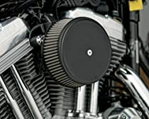Arlen Ness Billet Sucker Stage I Air Filter Kit with Steel Cover - Smooth Black - Stainless Steel Filter 18-339