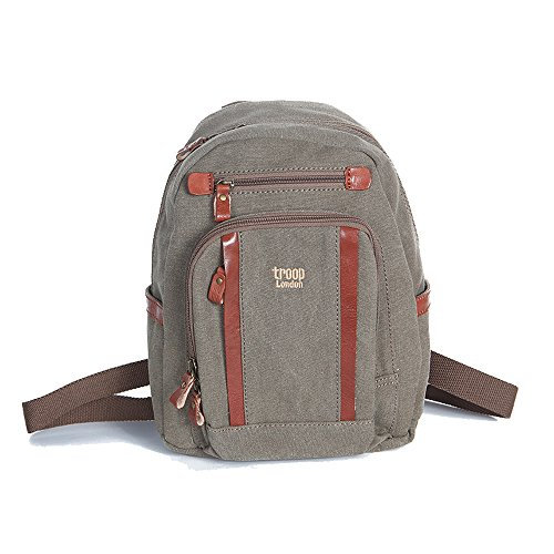 Handbag Queen 0255 - Zainetto unisex Troop London, con rifiniture in pelle, colore: Marrone