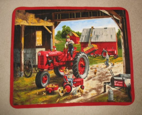 Farmall Tractor With Children Playing Fleece Throw Blanket front-510534