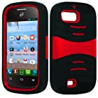 ZTE VALET Z665C Black RED Hybrid Kickstand Cover Case + FREE CAR CHARGER from [IDEA LINE INC]