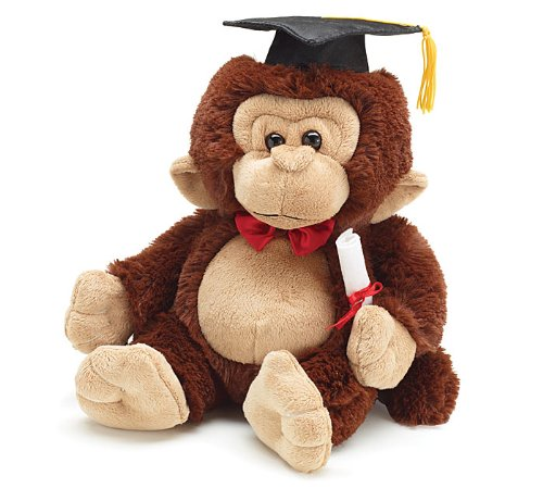 Plush Graduation Monkey with Cap and Diploma