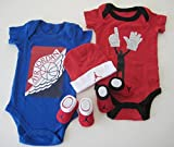 Nike Jordan Classic '23' Red and Black Infants or Baby Bodysuit Cap/ Hat Booties+ Free 3.5mm Anti Dust Plug- Iviva