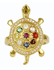 Exxotic Fashion 24K Gold Plated Silver Tortoise Navratana Stone & Adjustable Ring
