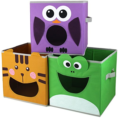 Paylak SCR500 Kids Storage Organizer Bins Fabric Set of 3 Animal Print with Handle