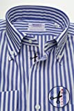 (スキャッティ) WEARFT ネイビー ホワイト ロンドンストライプ ブロード ボタンダウン (細身) ドレスシャツ bd3730